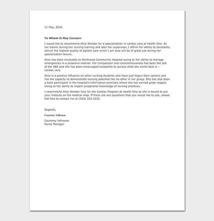 Nursing Student Reference Letter