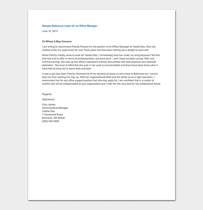 Office Manager Reference Letter