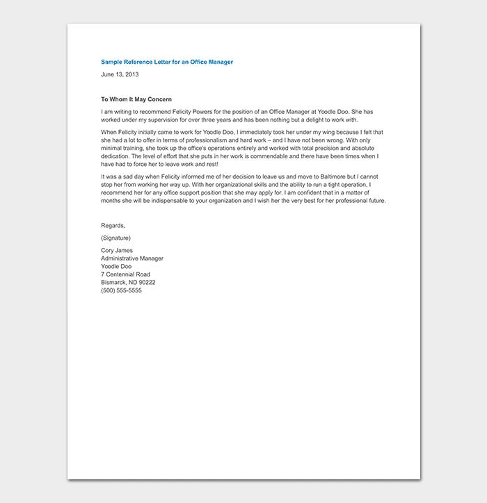 manager reference letter  format  u0026 sample letters