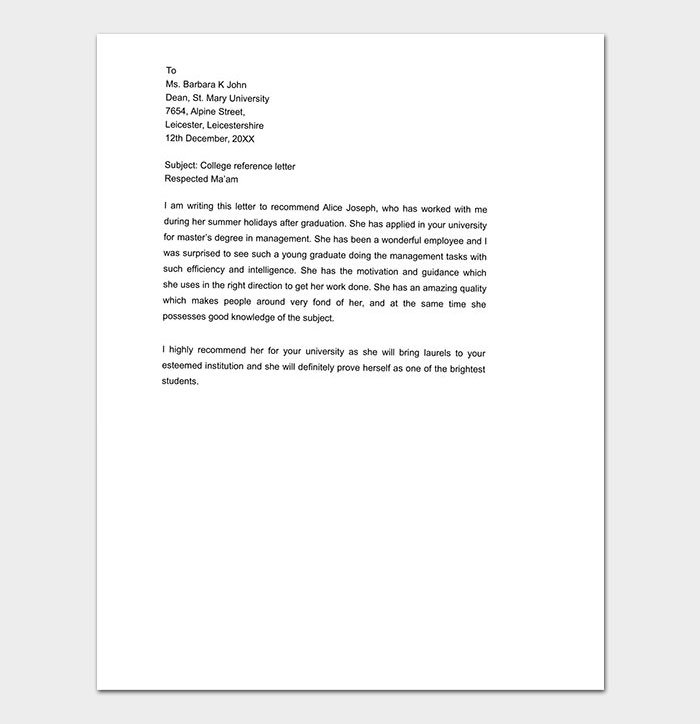 Personal College Reference Letter
