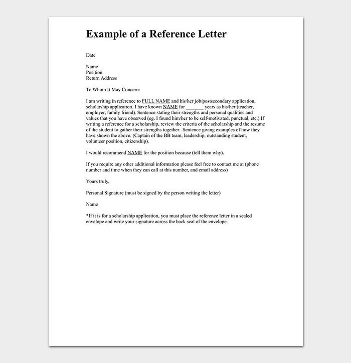 Personal Reference Letter for Employee