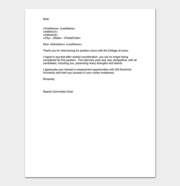 Polite Candidate Draft Rejection Letter