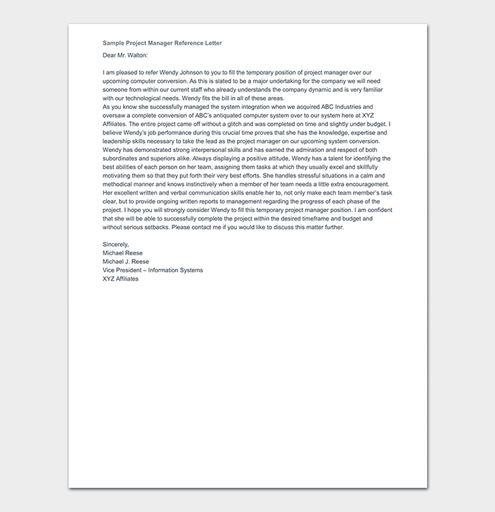 Project Manager Reference Letter