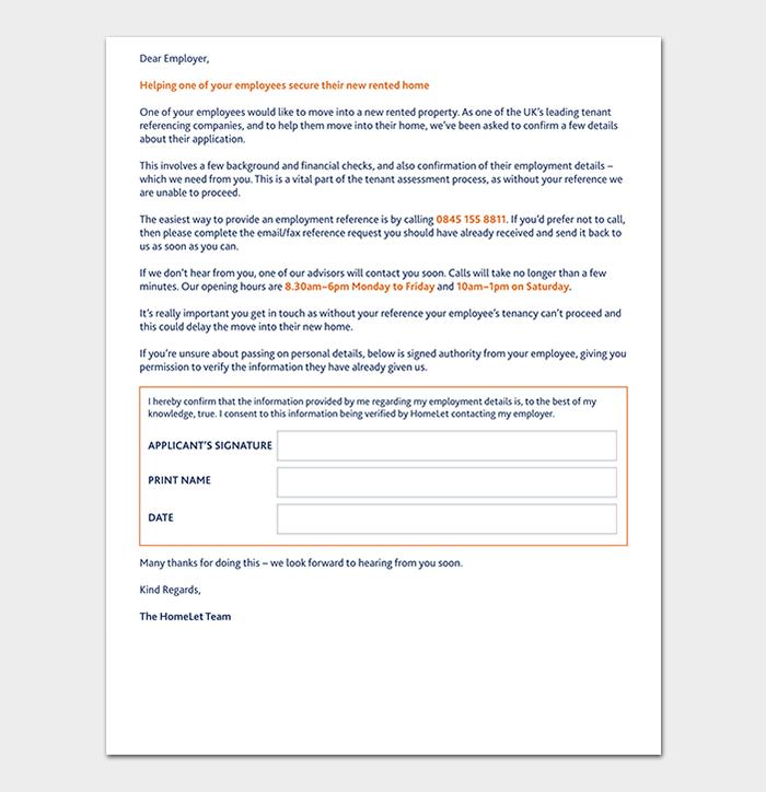 Property Rental Reference Letter