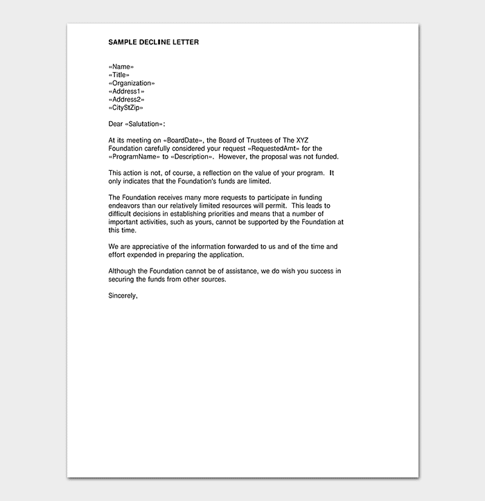 Proposal Rejection Decline Letter