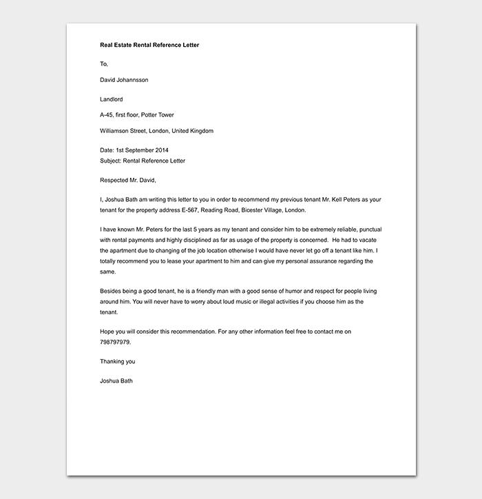 Real Estate Rental Reference Letter