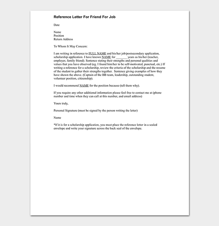 Reference Letter For Friend For Job