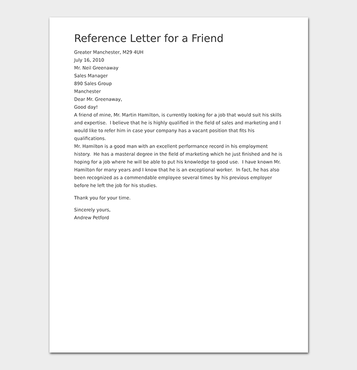 Reference Letter Sample For Friend