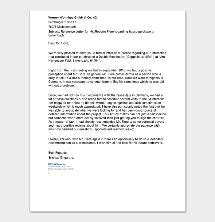 Reference Letter for House Purchase Landlord