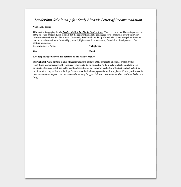 Reference Letter for Leadership Scholarship