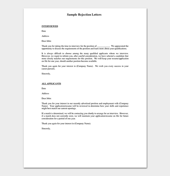 Rejection Thank You Letter Example