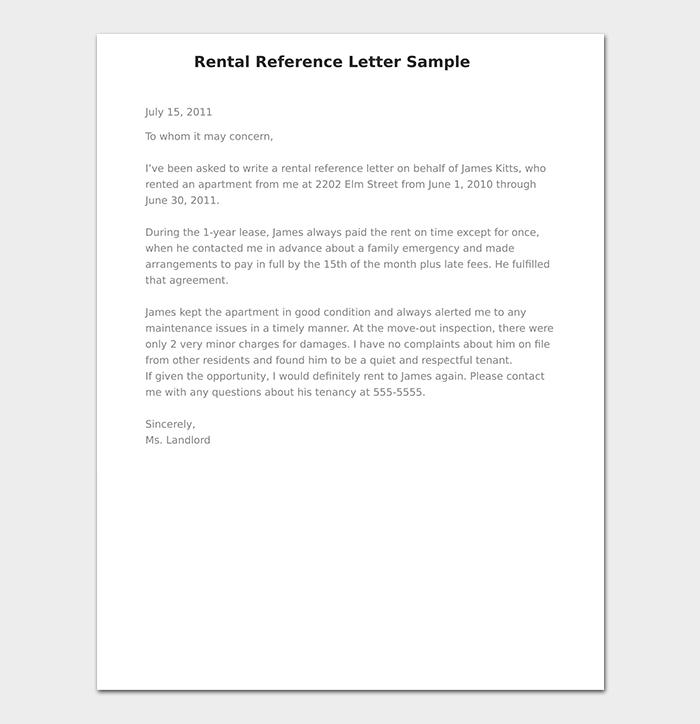 Rental Reference Letter Sample