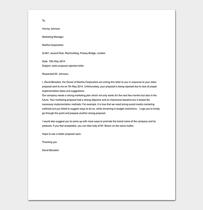 Sales Proposal Rejection Letter DOC