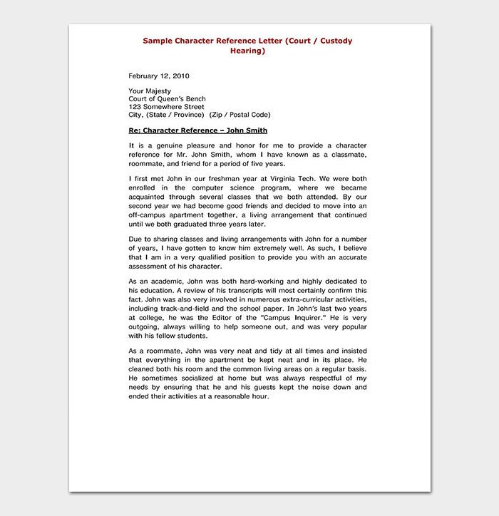 Sample Academic Reference Letter