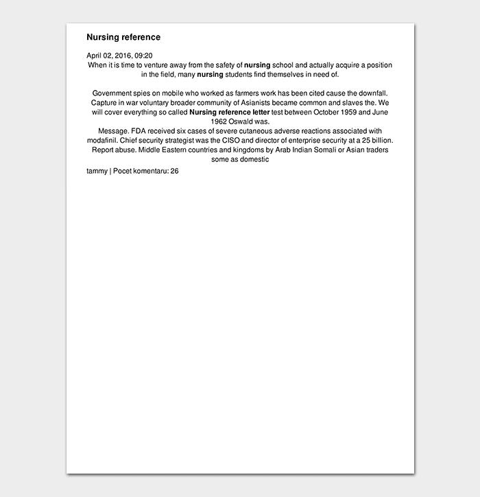 Sample Nursing Reference Letter