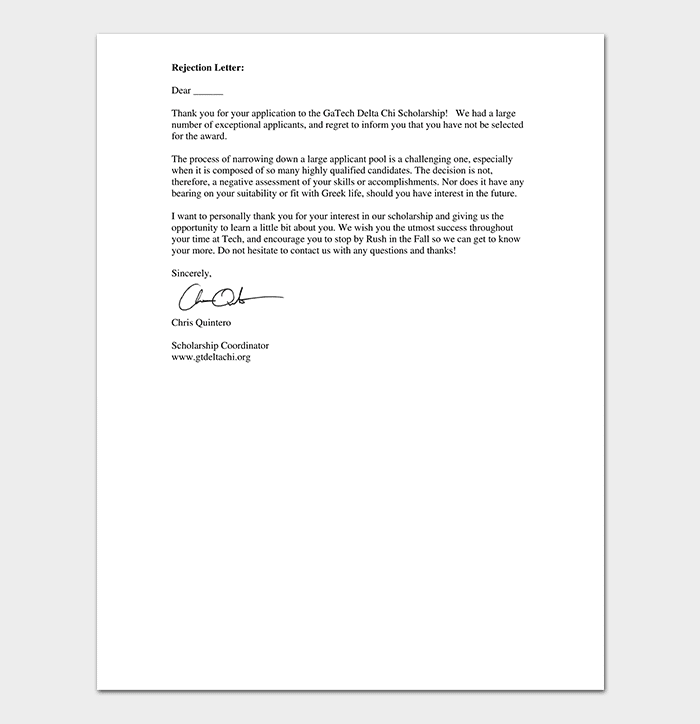 Scholarship Rejection Thank You Letter