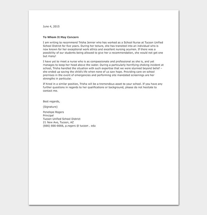 School Nurse Reference Letter WORD