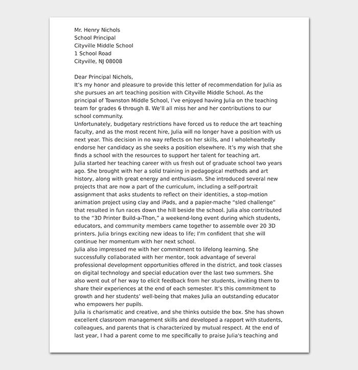 School Teacher Reference Letter
