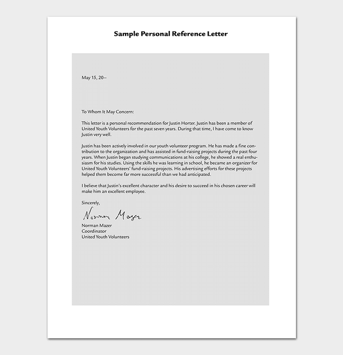 School Volunteer Reference Letter