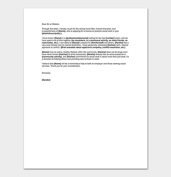 social work reference letter