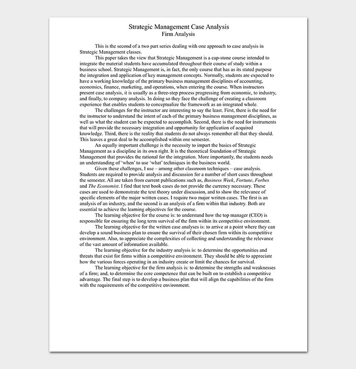 Strategic Management Case Analysis Template