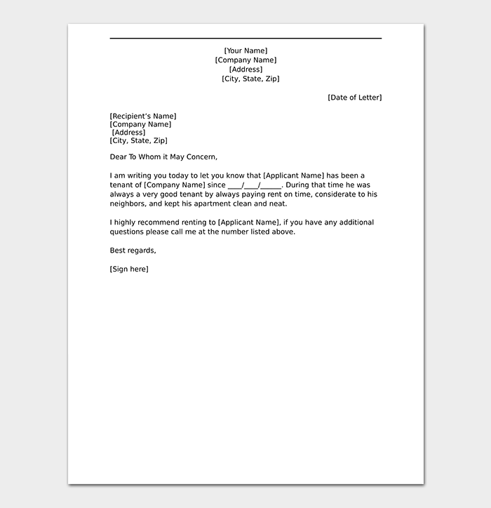 tenant reference letter templates