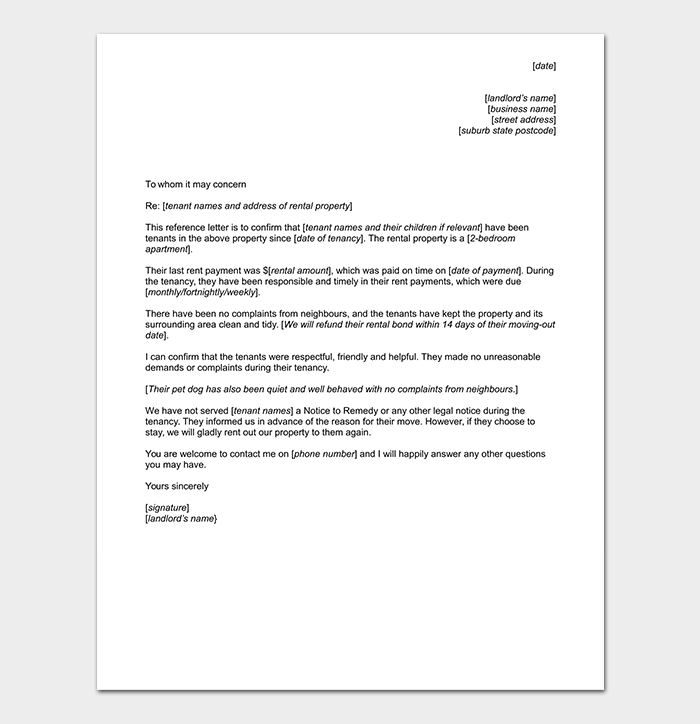 Tenant Reference Letter Format