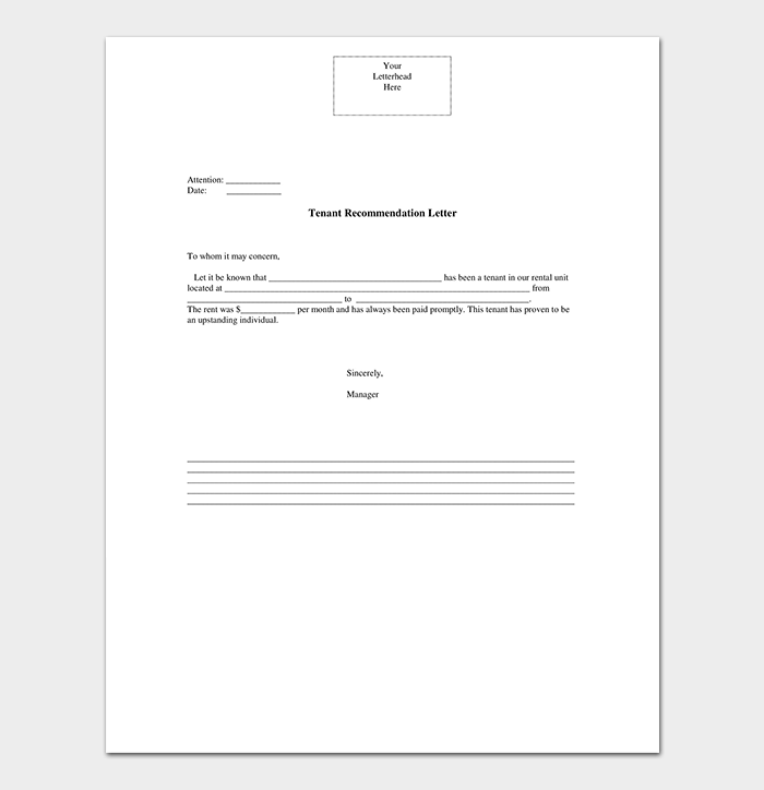 Tenant Reference Letter PDF