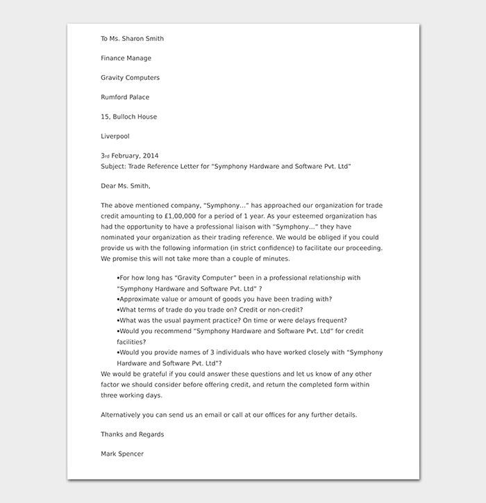 Trade Credit Reference Letter