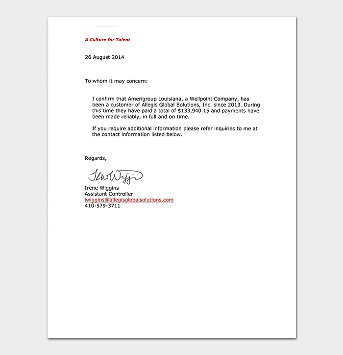Vendor Credit Reference Letter