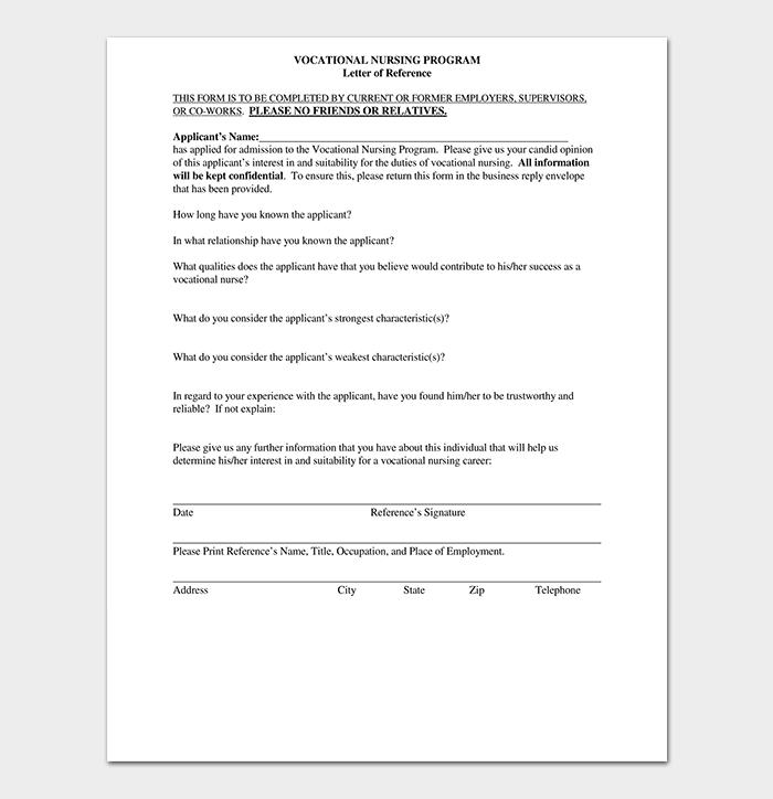 Vocational Nursing Reference Letter