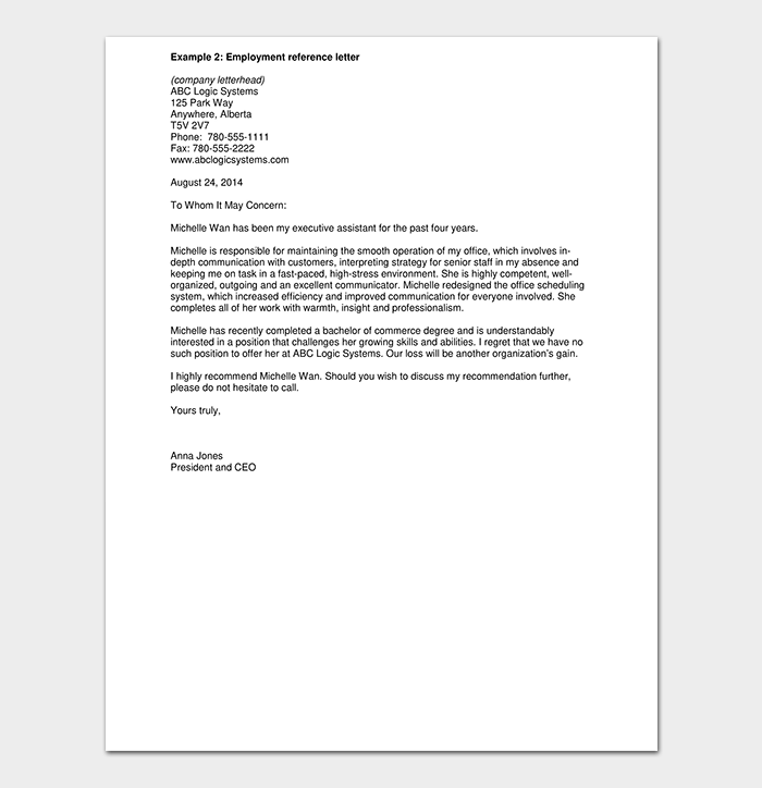 Work reference letter 15 free samples examples formats work reference letter from employer pdf altavistaventures Images