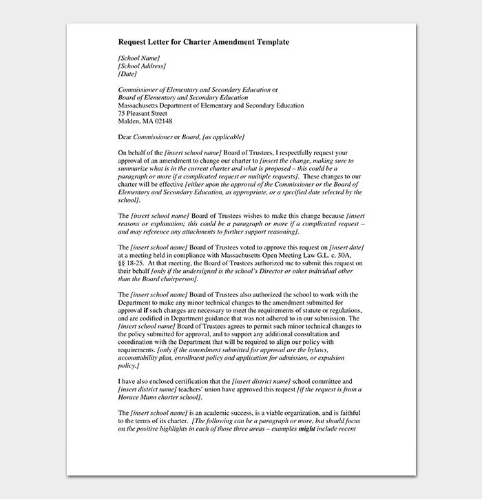 Ammendment Change Request Letter for Approval