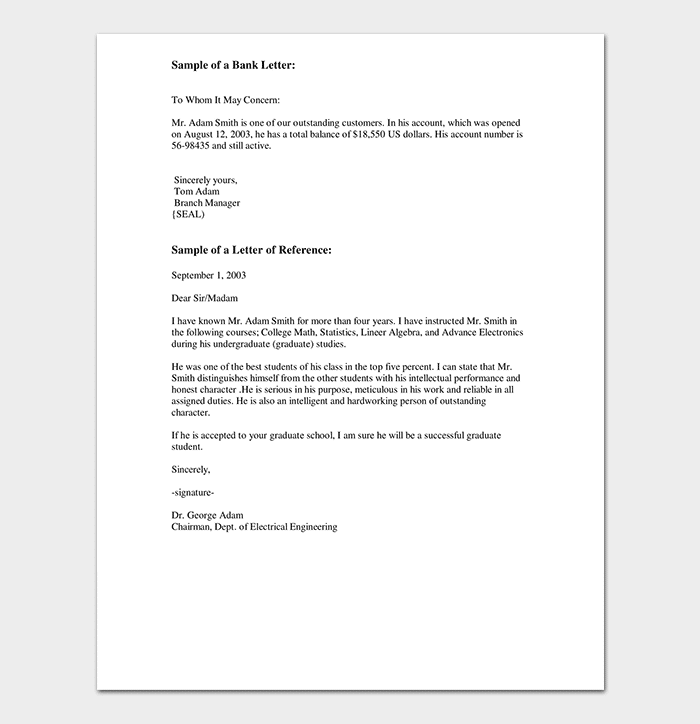 Bank Reference Letter Form