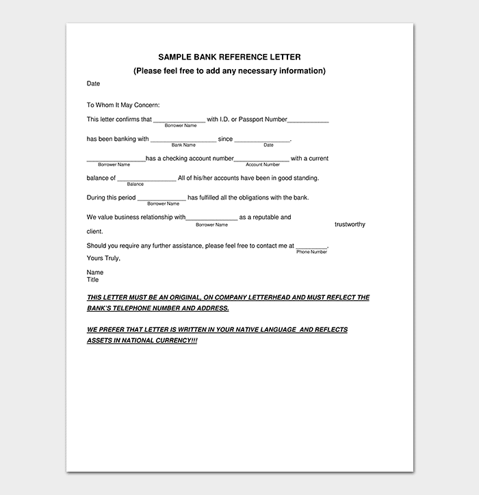Bank Reference Letter PDF