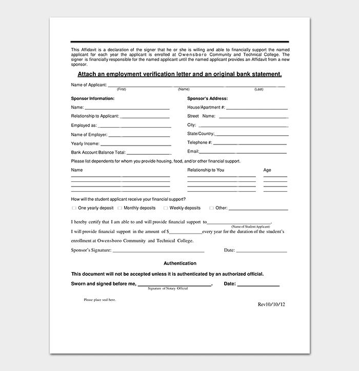 Bank Sponsorship Letter