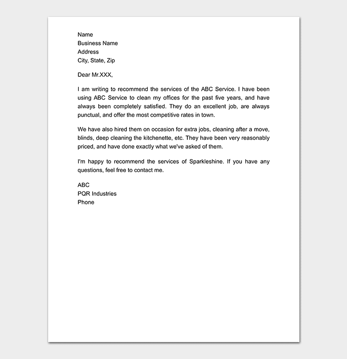 Business Reference Letter Format