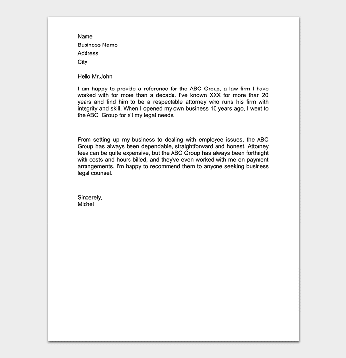 Business Reference Letter WORD
