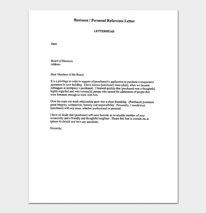 Business Reference Letter for Apartment