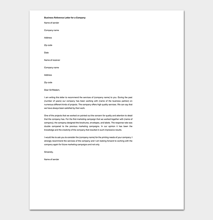 Business Reference Letter for Company