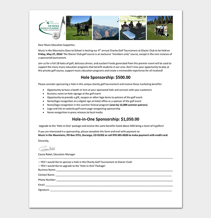 Charity Golf Tournament Sponsorship Letter