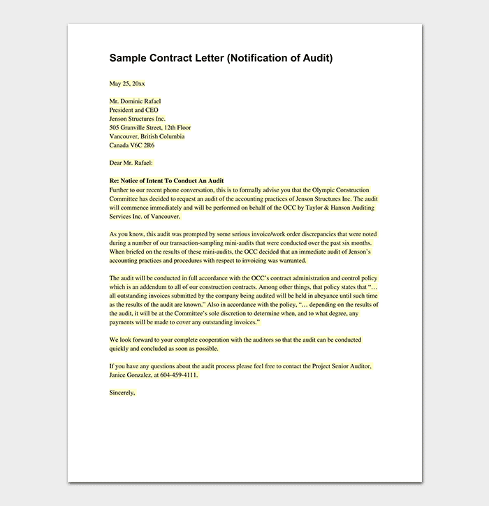 Contract Letter for Notification of Audit