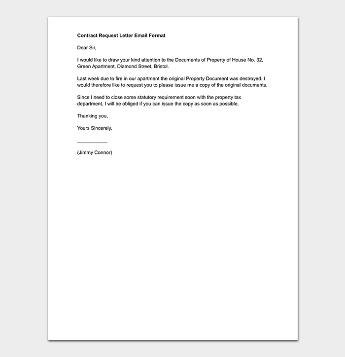 Contract Request Letter Email Format