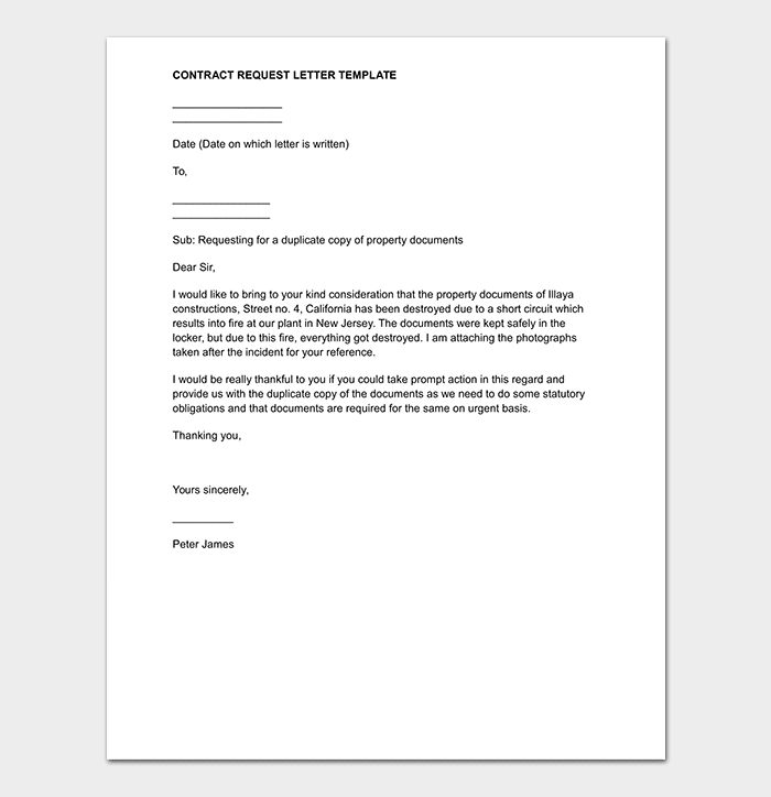 Contract Request Letter Sample