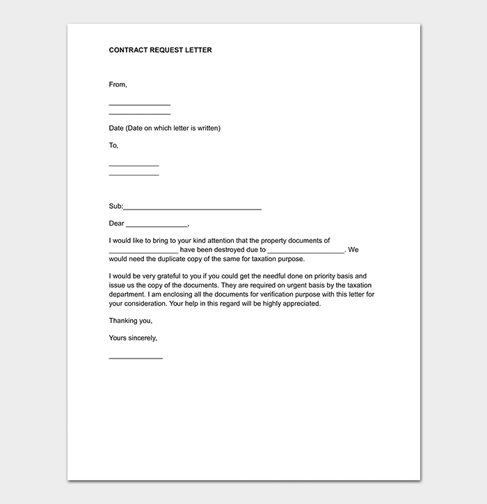 Contract Request Letter Word