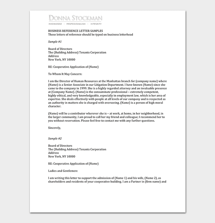 Cooperative Reference Letter Example
