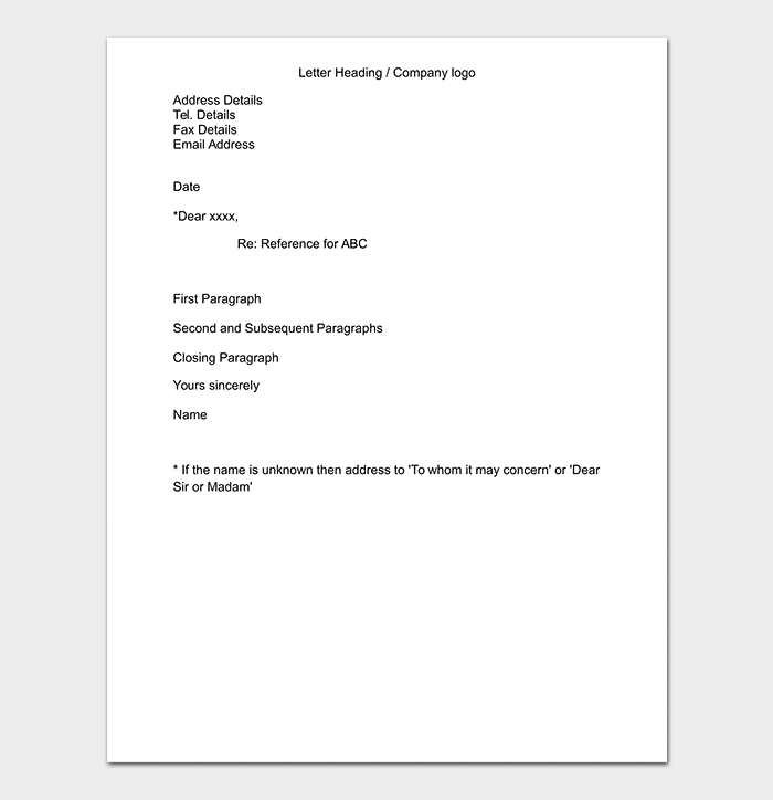 Editable Business Reference Letter