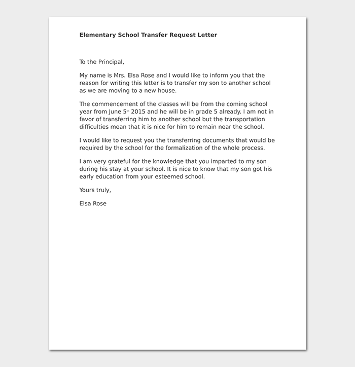 school transfer letter  how to write  format  u0026 sample letters