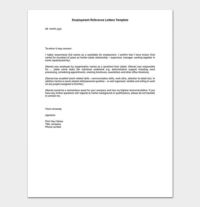 Employment Reference Letter WORD