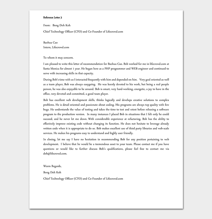 Employment Reference Letter for Software Developer